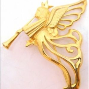 "Givenchy Gilded Gold Vermeil  Angel"" Brooch"